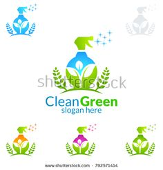 House Cleaning Vector Logo Design, Eco Friendly with shiny glass brush and spray Concept isolated on white Background Cleaning Service Logo, Cleaning Services Company, Cleaning Business Cards, Cleaning Companies, Logan, Vector Logo Design, En Stock, Clean House, Royalty Free Stock Photos