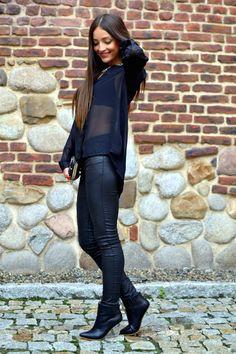Black On Black.  Chiffon Tulle Shirts & Blouses Leather Pants