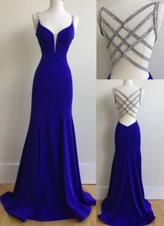 Sexy Mermaid Spaghetti Straps Royal Blue Long Prom Dress with Beading,370