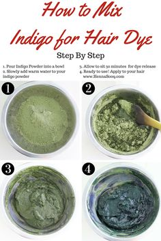 1. Pour Indigo Powder into a bowl 2. Slowly add warm water to your                indigo powder 3. Allow to sit 30 minutes  for dye release 4. Ready to use! Apply to your hair     www.HennaSooq.com