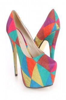 Rainbow Printed Platform Pump Heels Fabric