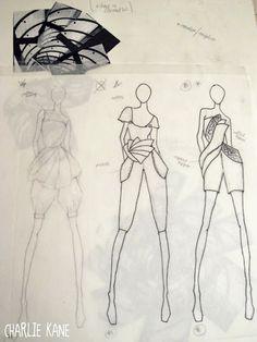 Fashion Sketchbook - fashion design drawings inspired by architecture; fashion student portfolio // Charlie Kane