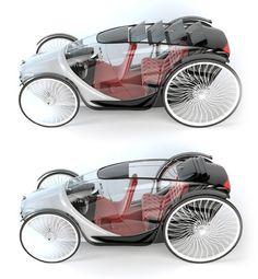 Veículo elétrico com design inspirado nos tempos das carruagens.