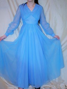 Vintage 60's EMMA DOMB Prom Dress - Cinderella Blue Chiffon Full Length Formal Gown 6/8 by EstatePieces4You on Etsy