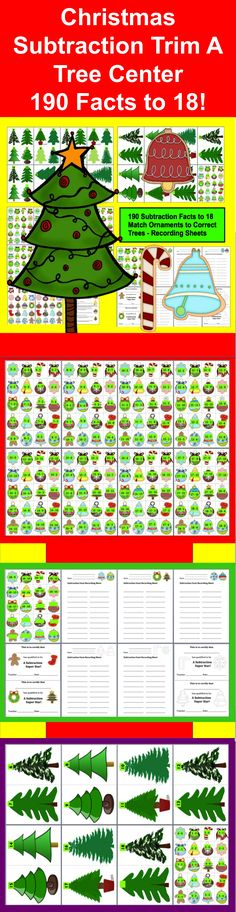 $ Christmas Subtraction Trim A Tree Math Center!  44 Page Download - 190 Christmas Subtraction Facts to 18 -  Match the Christmas Subtraction Fact Ornaments to the correct  Holiday Tree.