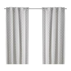 pair of curtains from ikea- my first inspiration for my new living room/ kitchen transformation, to save some money I think I'm going to spray paint my existing curtain rods silver and raise them higher above my window to hopefully make the room  look bigger? These are a nice cream white with gray and brown and black going through it.