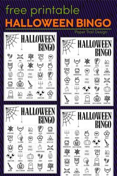 Print these bingo cards to use with students for a classroom harvest party, at home with your kids for a fun Halloween activity, or at a church activity. #papertraildesign #halloween #bingo #halloweenbingo #fall #freeprintables #fallprintables #halloweenprintables #halloweenfreebies Halloween Bingo Cards, Halloween Activities For Kids, Halloween Party Games, Theme Halloween, Halloween Design, Easy Halloween, Holidays Halloween, Halloween Books, Party Activities