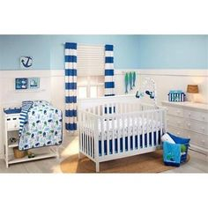 3 Piece Boys Blue Whales Navy Nautical Theme Crib Baby Nursery Bedding Set  New