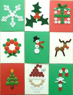 Easy peasy & oh so cute -- Tarjetas de Navidad con Botones -- Christmas Cards with Buttons Homemade Christmas Cards, Christmas Cards To Make, Xmas Cards, Kids Christmas, Homemade Cards, Handmade Christmas, Christmas Decorations, Button Christmas Cards, Christmas Collage