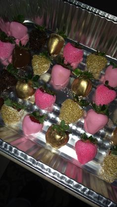 Chocolate covered strawberries pink and gold