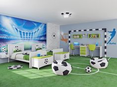 Bruder-Fußballer des Kinderzimmers: Kinderzimmer im Stil . Football Theme Bedroom, Kids Sports Bedroom, Football Rooms, Boys Bedroom Decor, Boys Room Design, Kids Bedroom Designs, Soccer Room, Cool Kids Rooms, Room Themes
