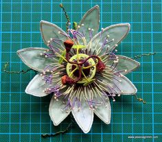 Stumpwork passiflora designed by Jenny Adin-Christie and available from… Silk Ribbon Embroidery, Embroidery Applique, Embroidery Stitches, Embroidery Patterns, Textile Sculpture, Textile Fiber Art, Brazilian Embroidery, Ribbon Art, Passion Flower