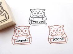 Gift for teachers Rubber stamp owl Owl by JapaneseRubberStamps