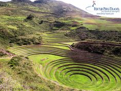 Moray: the 37-meter-deep, open air Inca greenhouse. The lower terraces create their own microclimates. The site is about 3500 m.a.s.l. but the temperature inside the structure gets so warm, you could cultivate jungle fruits on the lower terraces.