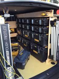 Dewalt Tough Box racking for a van Tools In Action Forum. Trailer Shelving, Van Shelving, Trailer Storage, Truck Storage, Vehicle Storage, Dewalt Storage, Van Storage, Tool Storage, Locker Storage
