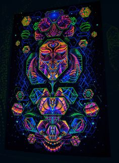 """UV backdrop """"Singularity Microcosma W"""" Multidimensional Blacklight glow Wallhanging psychedelic sacred fractal worlds fluorescent tapestry Trippy Tapestry, Psychedelic Tapestry, Matrix, Cosmos, Psychadelic Art, Acid Art, Uv Black Light, Trippy Wallpaper, Rainbow Wallpaper"""