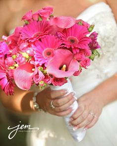 Pink wedding bouquet by Beautiful Blooms by Jen. Photo by Jem Photography