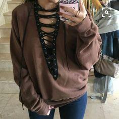 2260464720 So cute and super diy Diy Lace Up Sweatshirt