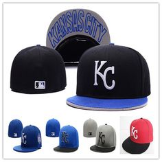 aadd3adca31 Wholesale Cheap Kansas City Royals  KC letter  Fitted Hats embroidery  baseball  cap flat-brim hat team size baseball cap
