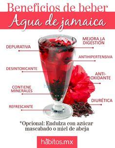 Agua de Jamaica, Fresca y con muchos Beneficios ..fuente: habitos.mx