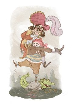 Captain Hook and Smee from Peter Pan by Samantha Davies for  @Sketch_Dailies