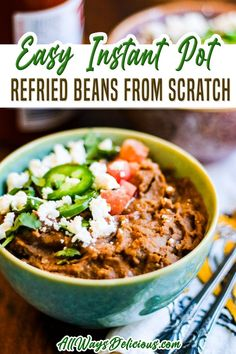 Refried beans from scratch are so much better than canned! This Instant Pot recipe requires very little hands-on work and can take you from dried beans to finished dish in under an hour. And you don't even need to pre-soak the beans! Refried beans are a staple in my house. | All Ways Delicious @allwaysdelicious #authenticmexicanrefriedbeans #mexicanrecipes #authenticmexicanrecipes #easymexicanrecipes #instantpotmexicanrecipes #mexicansidedish #quickmexicansidedish #allwaysdelicious Bean Recipes, Spicy Recipes, Lunch Recipes, Easy Dinner Recipes, Cooking Recipes, Dinner Ideas, Vegan Mexican Recipes, Vegetarian Recipes Easy, Healthy Recipes