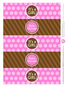 {Free Printable| Baby GIRL Water Bottle Labels} Freebie by http://www.etsy.com/shop/appleeyebabyshop?ref=si_shop #printable  #freebies #diy #print #free #label #babyshower #girl #waterbottle