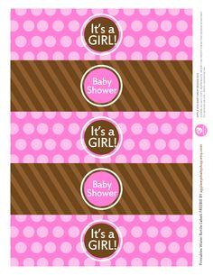 {Free Printable| Baby GIRL Water Bottle Labels} Freebie by http://www.etsy.com/shop/appleeyebabyshop?ref=si_shop #printable  #freebies #diy #print #free #label #babyshower #girl #waterbottle