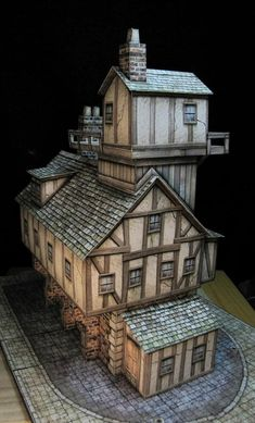 Buildings, Dave Graffam I'm pretty sure this is paper? Figurine Warhammer, Medieval Houses, Fantasy City, Wargaming Terrain, Paper Houses, Wooden Houses, Tiny World, Paperclay, Environment Design