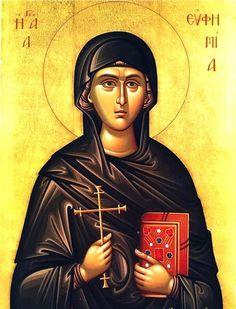 Euphemia the Great Martyr icon Byzantine Icons, Byzantine Art, Orthodox Christianity, Orthodox Icons, Saints, Images, Statue, Model, Prayer