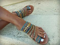 Handmade sandals made of genuine leather. Unique festival sandals embellished with Gold Border Piping trim, Decorative Ribbon and gold coins are a playful contrast and will look stunning with your summer tan!!! So glamorous all day and night long!!! MayoChic sandals are made so you