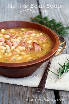 Delicious ham and bean soup with fresh rosemary. #recipe