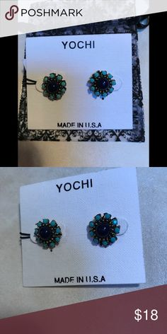 "NWT Yochi sunburst studs NWT Yochi Sunburst studs.  Measure 1/2"" at widest part.  Turquoise with navy ( almost black) centre. Made in USA . Dust bag included Yochi Jewelry Earrings"