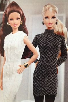 Barbie fashion. Cable knit sweater dresses. Can make these out of old socks or mittens.