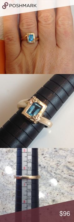Genuine 10K Gold and Blue Topaz Ring So pretty and feminine. Black Hills Gold accents on two corners. Jewelry Rings