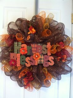 Fall mesh wreath ON SALE by Wreaths4u2byPaula on Etsy, $55.00