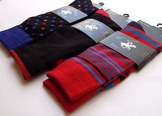 Lot- 3 pc- Mens Colorful Pattern Socks- Dress Casual Athletic- Blue Red Black