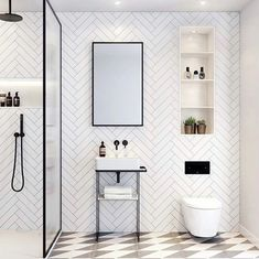 Get the look with Bert and May's Grey Alalpardo tiles Small Shower Room, Small Bathroom Layout, White Bathroom Tiles, Bathroom Tile Patterns, Black And White Bathroom Ideas, Metro Tiles Bathroom, Black White Bathrooms, Small Downstairs Toilet, Small Toilet Room