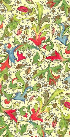 Gilded Florentine Christmas paper from Italy Textiles, Textile Patterns, Textile Design, Color Patterns, Print Patterns, Paper Beads Template, Art And Craft, Decoupage Paper, Christmas Paper