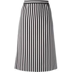 Marc Jacobs monochrome striped A-line skirt ($630) ❤ liked on Polyvore featuring skirts, black, marc jacobs skirt, high-waist skirt, high waisted knee length skirt, a-line skirt and print skirt