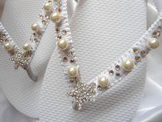 Bridal flip flops Flat bling wedding shoes by AdrianaSantosBridal