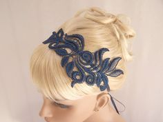 Delphinium lace headband navy with ribbon ties