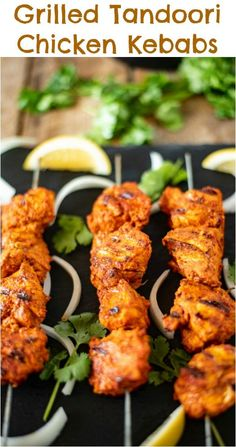 Grilled Tandoori Chicken Kebabs brings everyones favorite tandoori Indian dish into our own kitchens. Chicken is marinated in yogurt and delicious Indian spices then grilled to achieve the closest flavor you can get without a tandoor oven. Tandoori Chicken Marinade, Tandoori Recipes, Pollo Tandoori, Tandoori Masala, Kebab Recipes, Grilling Recipes, Indian Food Recipes, Cooking Recipes, Healthy Recipes