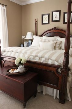Dream Home Interior Master Bedroom with Four Poster Bed.Dream Home Interior Master Bedroom with Four Poster Bed Bedding Master Bedroom, Farmhouse Master Bedroom, Cozy Bedroom, Guest Bedrooms, Dream Bedroom, Home Decor Bedroom, Bedroom Ideas, Tan Bedding, 1920s Bedroom