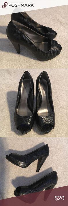 """Platform open toe heels sz 6.5 Black snake vegan leather platform shoes with open toe. 3"""" heel. Qupid Shoes Heels"""