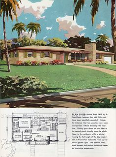 Charming rancher floor plan bliss from 1960. #vintage #house #plans