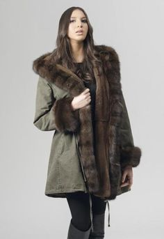 A443 Parka cotton garmentwashed, plucked mink, russ.sable