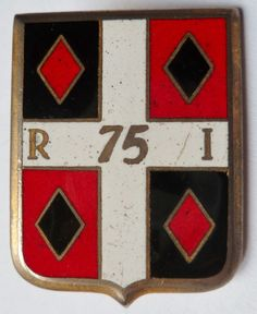 Insigne 75° RI Régiment Infanterie émail ORIGINAL Arthus Bertrand France Badge