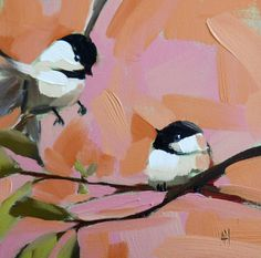 Come Join Me Chickadees Painting by Moulton original oil painting of birds chickadee painting prattcreekart