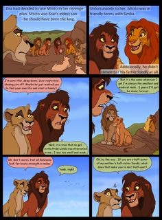 Poor Zira, it must suck to be called 'aunt' by the guy you're trying to flirt with. Especially when you're really not his aunt. Heir to Pride Rock, page 16 Lion King Dialogue, Lion King Funny, Lion King Drawings, Lion King Fan Art, Pride Rock, King Simba, Male Lion, Le Roi Lion, Disney Lion King
